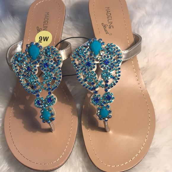 c4c81341977097 Madeleine Stuart Sandal 9 Blue Turquoise Jewel NEW.  M 5ab6cbfef9e501cdcbe98187